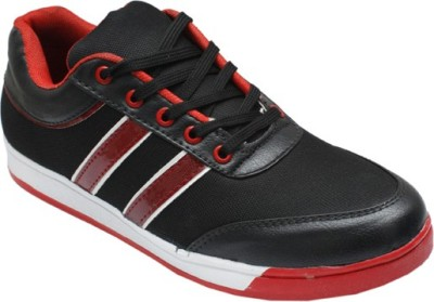 Leather Like Black Red Canvas Shoes