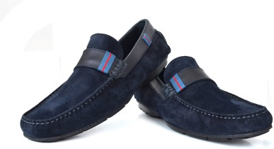 Language Casual Navy Suede Loafers