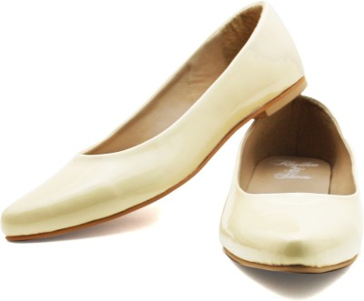 Rhythm & Shoes Sophia Off White Patent Ballerinas Bellies