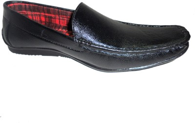 Hinacshi Black Faux Leather Loafers
