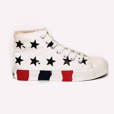 Advin England White with Star Printed Shoes Casuals