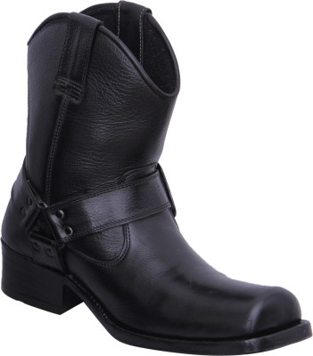 Walkaway Black Color Lather Casual Boots
