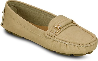 Kielz Beige-Synthetic Leather-Ladies Loafers Loafers(Beige) at flipkart