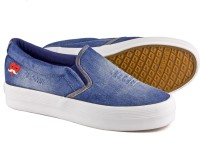 DeVEE Happy Hearts Washed Navy Canvas Shoes(Navy, Blue)