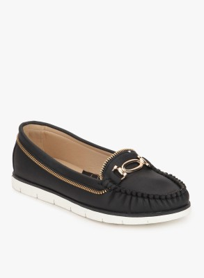 Addons Faux Leather Cleated Rupper Sole Loafers