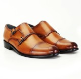 Brune TAN LEATHER DOUBLE MONK SHOES FOR ...