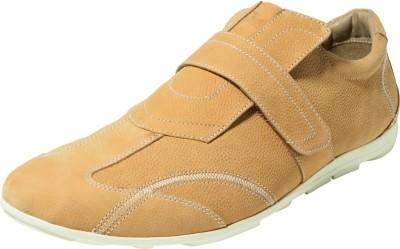 Zovi Khaki Mens Sporty Velcro Leather Premium Casual Shoes Corporate Casuals