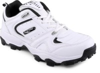 Lancer White Cricket Shoes(White, Black)