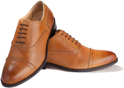 Walker Styleways Excellent Tan Leather Brogue Lace Up Shoes
