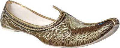 Carresa Light Gold lining with Embroidery Punjabi Jutis