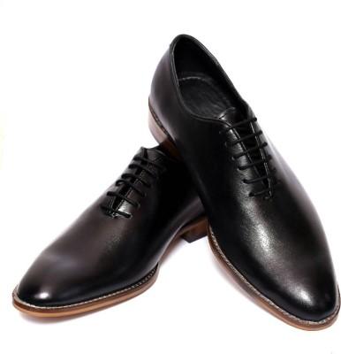Adler Elite Men,s Black Genuine Leather Lace Up Shoes