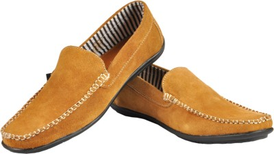 NY Eagle Camel Brown Pure Leather Suede Loafers