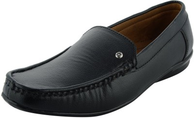 LeatherKraft Men's Black Synthetic Mocassins Boat Shoes