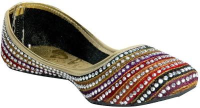 Panahi Multi-Coloured Synthetic Lehariya Slip On Jutis Casuals