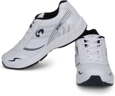 RhyMax Cricket Shoes(White, Navy)