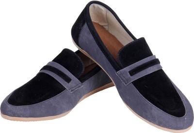 Goyal Black Grey Denim Loafers