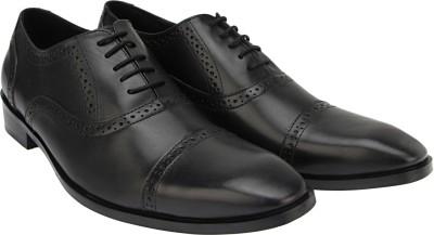 Brigit Half Brogue Shoes Black Lace Up