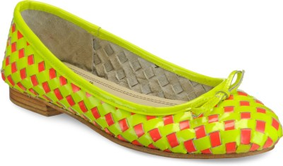 Hats Off Accessories Neon and Pink Woven Leather Ballerinas Bellies