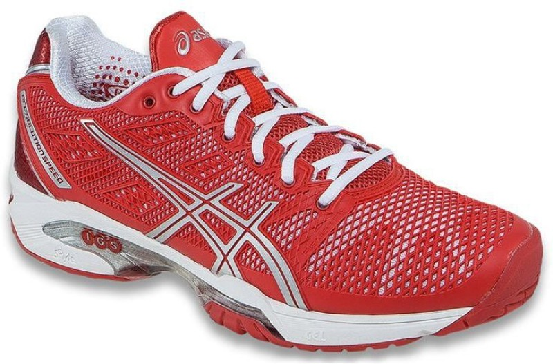 Asics Gel-Solution Speed 2 Women Tennis Shoes(Red, Silver, White)