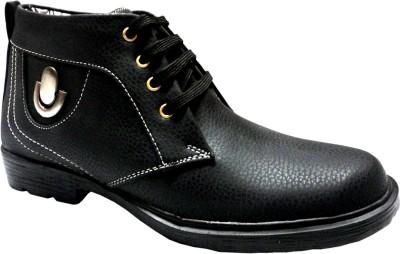 Hinacshi Black Faux Leather Boots