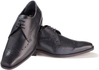 Walker Styleways Elegant Black Leather Brogue Lace Up Shoes