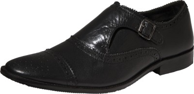 Zovi Black Formal Shoes with Buckle Slip On