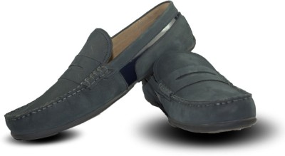 Blue Harpers Stylish Navy Blue Leather Loafers