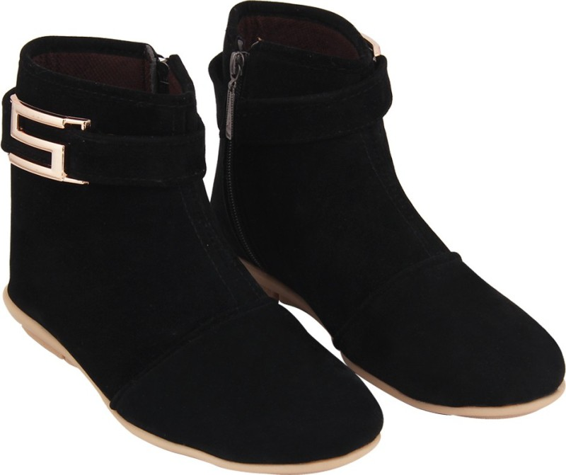 ABJ Fashion S Buckle Women's Stylish Black Boots(Black)