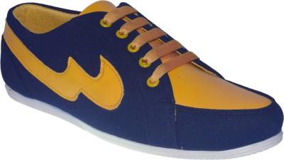 Shoekool Navy Blue & Yellow Casual Shoes