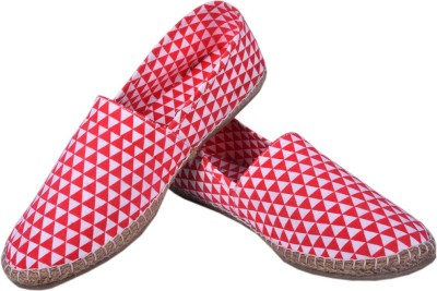 Aartisto Red Geometric Collection Men's Espadrilles Canvas Shoes