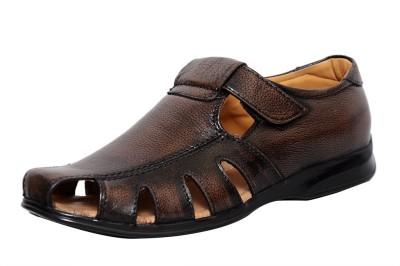 Zoom Zoom Men's Pure Leather Formal Sandal D-1215-Brown-7 Slip On
