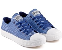 DeVEE Simply Striped Navy Canvas Shoes(Blue, Navy)