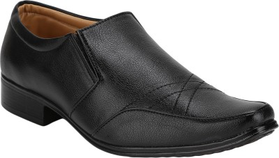 Vonc Black Top Pattern Leather Slip On Shoes