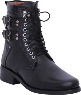 Walkaway Dark Black Color Lather Boots