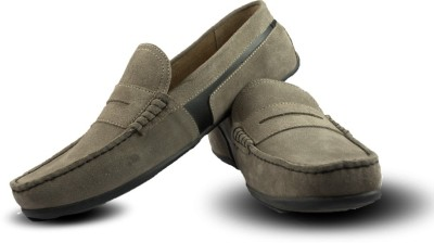 Blue Harpers Stylish Taupe Suede Loafers