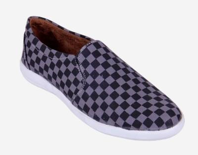 Goyal Black Grey Checks Loafers