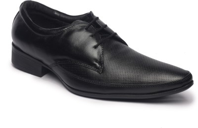 Feather Leather Genuine Black Lace Up Shoes