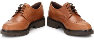 4ever young Womens Tan Yale Leather Brogues Casual Shoes