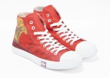 Boysons ankle printed Canvas Shoes (Red)