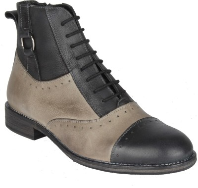 Salt N Pepper 14-320 Ray Grey Black Mid Ankle Boots Casual Shoes