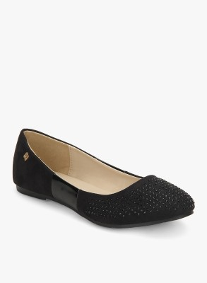 Addons Patent Patched Crystal Embellished Ballerinas Bellies