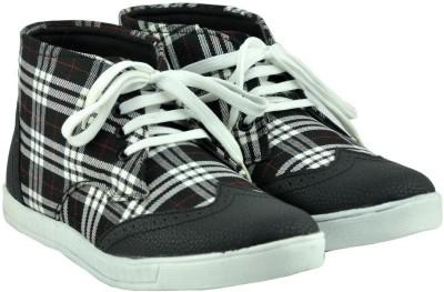 Alpha Man White And Black Checks Canvas Shoes