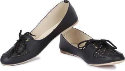 Cute Feet Smart Black Color Cutwork Casual Shoes Bellies