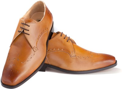 Walker Styleways Elegant Tan Leather Brogue Lace Up Shoes