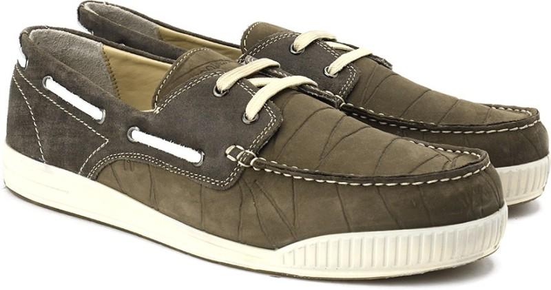 Woodland Men Boat Shoes(Olive)...
