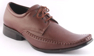 Zapatoz Brown Pulp Stitched Lace Up Shoes