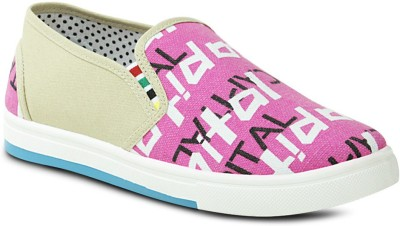 Get Glamr Designer Slip Ons Canvas Shoes(Pink)