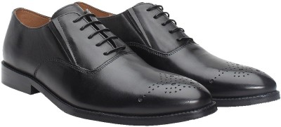 Brune BRUNE BLACK HAND PAINTD LEATHER SHOES Lace Up