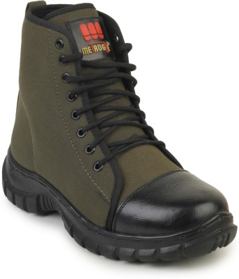 Vilax Green Combat Cloth with Leather Toe Cap Mid Ankle Jungle Boots Boots