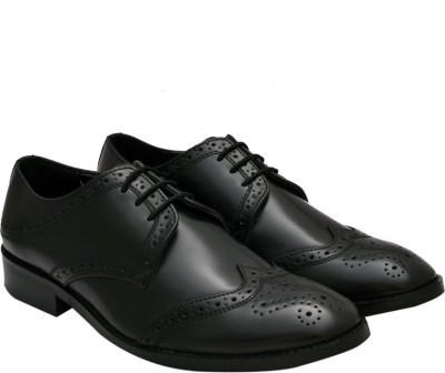 Hirels Black Cap Toe Derby Brogue Lace Up Lace Up